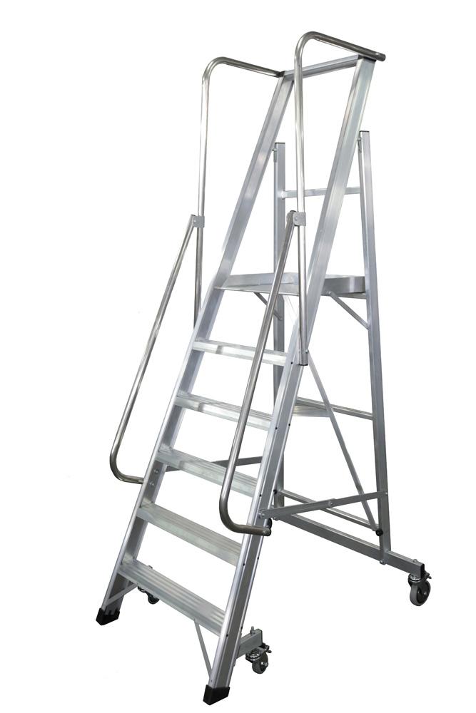 Escalera con Plataforma Plegable y 4 Ruedas - 2 Peldaños