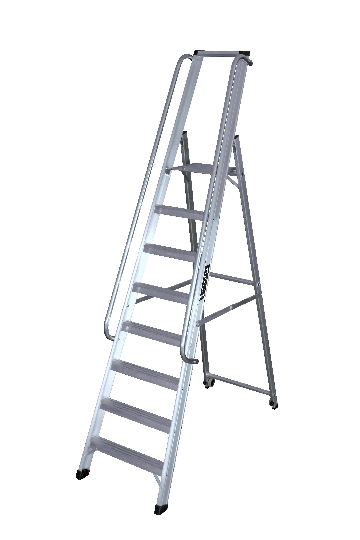 Escalera de Tijera con Pasamanos y Ruedas - 4 Peldaños