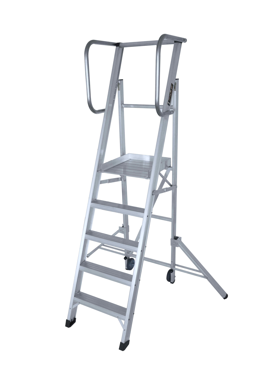 Escalera Plegable con Plataforma y Estabilizadores - 3 Peldaños
